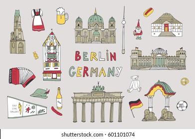 Doodle vector Germany Berlin travel landmarks set.