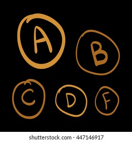 Doodle vector grades, set of gold hand drawn letters, gold hand drawn illustration on black background
