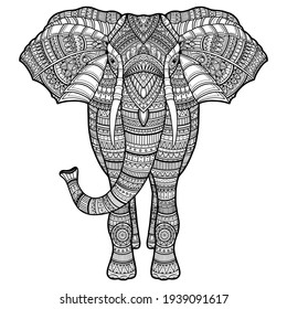 doodle vector handdrawn elephant in black and white foradult coloring pages