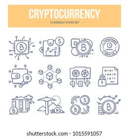 Doodle vector icons of blockchain cryptocurrency, bitcoin mining. Financial technology concepts