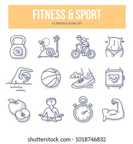 Doodle vector icons of fitness & sport for website and printing materials