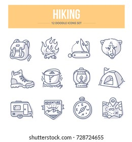Doodle vector icons of hiking and camping for website and printing materials