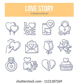 Doodle vector icons of love and wedding for website and printing materials. Love story concepts