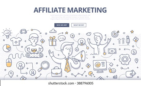 Doodle vector illustration of advertiser selling, publisher promoting and consumer buying a product. Concept of earning a commission by promoting products or people for web banners, printed materials