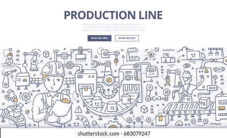 Doodle vector illustration of automated production line of product assembly and packaging. Concept of conveyor process production on factory for web banners, hero images, printed materials