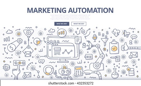 Doodle vector illustration of automating and measuring marketing tasks and work flows to increase company efficiency and connect with potential clients.