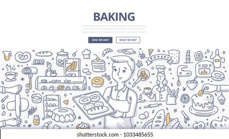 Doodle vector illustration of a baker demonstrating fresh bread on a tray. Bakery production, bread shop and baking concept for web banners, hero images, printed materials