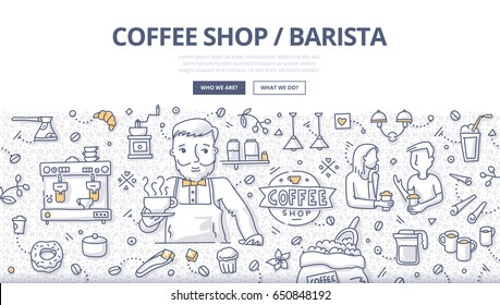 Doodle vector illustration of barista holding a cup of coffee. Coffee shop concept with related symbols an elements for web banners, hero images, printed materials