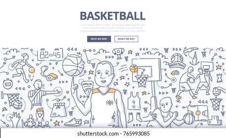 Doodle vector illustration of a basketball player spinning ball on his finger. Concept of playing basketball for web banners, hero images, printed materials