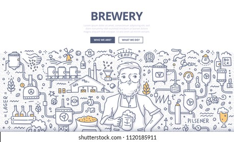 Doodle vector illustration of a brewer with a glass of beer. Concept of brewery, craft beer production for web banners, hero images, printed materials