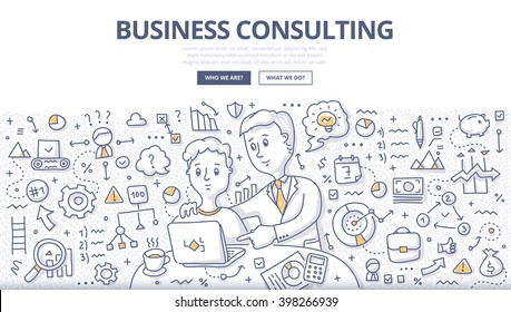 Doodle vector illustration of business consultant giving advice, building business strategy, discussing ideas, planning work. Business consulting concept for web banners hero images, printed materials