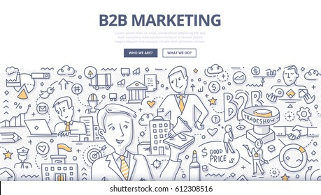 Doodle vector illustration of business-to-business marketing. Concept of selling one company's products or services to another company for web banners, hero images, printed materials