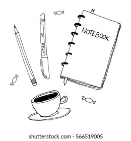Doodle vector illustration of coffee, notebook and pen, primitive drawing. Modern minimalism sketch art.