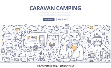 Doodle vector illustration of couple on vacation at a trailer camp site. Concept of caravan traveling and camping for web banners, hero images, printed materials