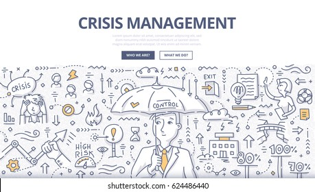 Doodle vector illustration of crisis manager with umbrella. Abstract concept of managing crisis, solving problems, handling emergency and dealing with negative event for web banners, printed materials