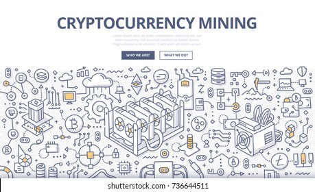 Doodle vector illustration of cryptocurrency, bitcoin mining technology for web banners, hero images, printed materials