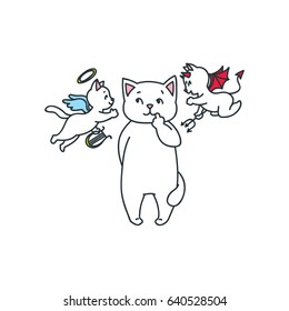Doodle vector illustration of cute white cat listening to an angel cat and a devil cat
