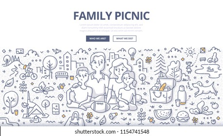 Doodle vector illustration of a family having picnic in the city park. Concept of outdoor dining & recreation for web banners, hero images, printed materials