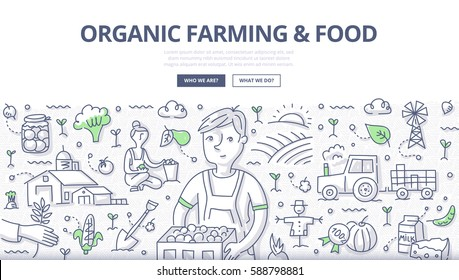 Doodle vector illustration of a farmer with a organic vegetable crop. Concept of organic farming and growing healthy food for web banners, hero images, printed materials