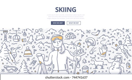 Doodle vector illustration of female skier on ski resort. Skiing concept for web banners, hero images, printed materials