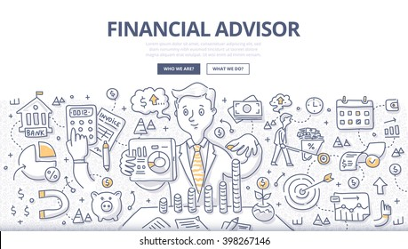 Doodle vector illustration of financial advisor giving advice on investment, saving money, managing money, planning ahead. Concept of financial consulting for web banner, hero images, printed material