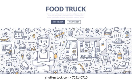 Doodle vector illustration of food truck business. Concept of street cuisine for web banners, hero images, printed materials
