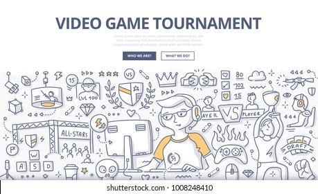 Doodle vector illustration of gamer participating in cyber game. Concept of video games tournament for web banners, hero images, printed materials