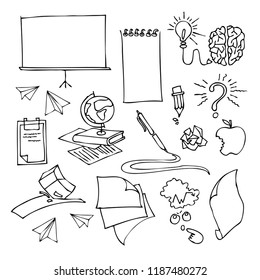 Doodle vector illustration. Hand drawn, modern set of school and bisness supplies