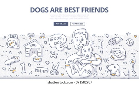 Doodle vector illustration of happy man holding dog in hands. Dogs caring concept for web banners, hero images, printed materials