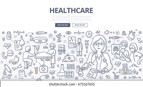 Doodle vector illustration of a healthcare system & medical organization. Concept of health care diagnosis, treatment and surgery for web banners, hero images, printed materials