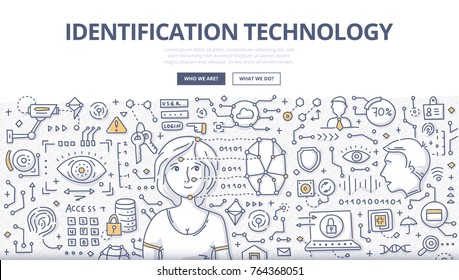 Doodle vector illustration of identification technologies such as: face recognition, fingerprint scanning and voice identification for web banners, hero images, printed materials