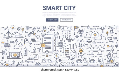 Doodle vector illustration of integrating information and communication technologies into city infrastructure. Smart city concept for web banners, hero images, printed materials