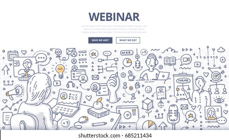 Doodle vector illustration of internet communication technologies such as web conference, webcasting, real-time online collaboration. Concept of webinar for web banners, hero images, printed materials