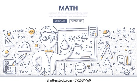 Doodle vector illustration of learning and teaching mathematics. Education concept of math science for web banners, hero images, printed materials