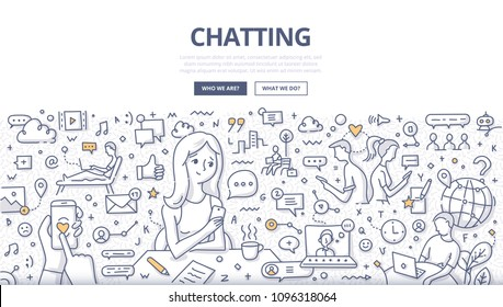 Doodle vector illustration of live chat communication, chatting on mobile smartphone, social networking. Concept of online chatting for web banners, hero images, printed materials