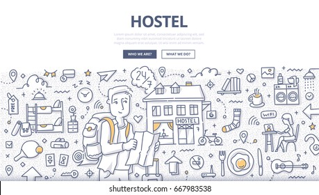 Doodle vector illustration of man with backpack and map in hands who is looking for hostel. Concept of low-cost budget traveling and hostel accommodation for web banners, hero images, printed material