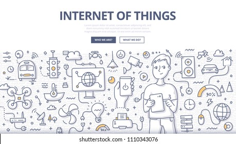 Doodle vector illustration of a man using tablet to control various devices. Internet of things & home automation technology. IOT concept for web banners, hero images, printed materials