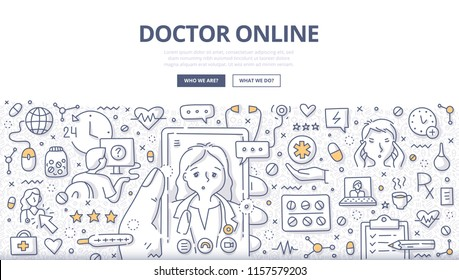 Doodle vector illustration of a man using mobile phone to chat with a doctor online. Concept of online medical consultation for web banners, hero images, printed materials