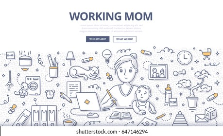 Doodle vector illustration of mother writing in notebook and working at laptop while sitting  with her child at her working place. Concept of mom working at home