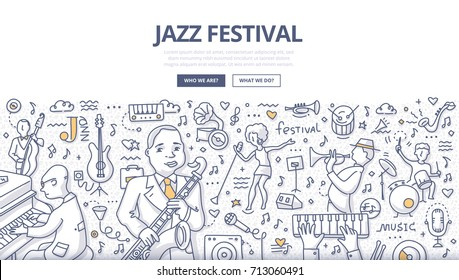 Doodle vector illustration of musicians on jazz music festival. Concept of playing jazz for web banners, hero images, printed materials