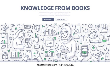 Doodle vector illustration of muslim woman in traditional outfit reading book. Getting knowledge from paper, electronic and audio books. Concept with islamic people engaged in education