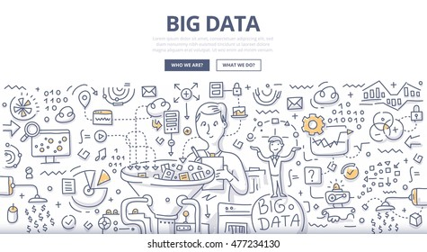 Doodle vector illustration of organizing, storing, sharing and monetizing data from companies and digital media resources. Concept of big data market for web banners, hero images, printed materials