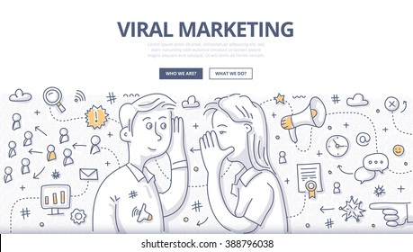 Doodle vector illustration of passing, spreading marketing message about valuable product or service from person to person. Network marketing concept for web banners, hero images, printed materials