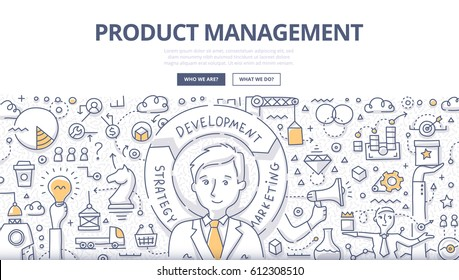 Doodle vector illustration of planning, forecasting, developing and marketing of a product. Concept of product management for web banners, hero images, printed materials