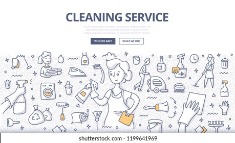 Doodle vector illustration of professional housemaid in uniform with various cleaning equipment and accessories around. Concept of cleaning service for web banners, hero images, printed materials