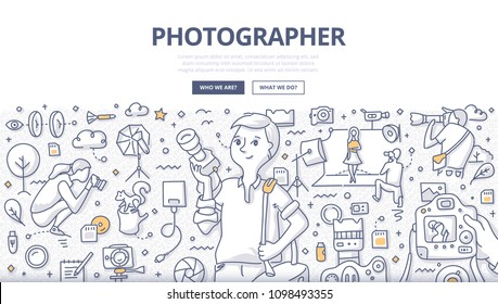 Doodle vector illustration of a professional photographer with camera. Studio, event, travel photographer at work. Photography concept for web banners, hero images, printed materials