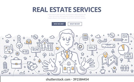 Doodle vector illustration of real estate agent at work. Real estate business concept with property and house mortgage elements for web banners, hero images, printed materials