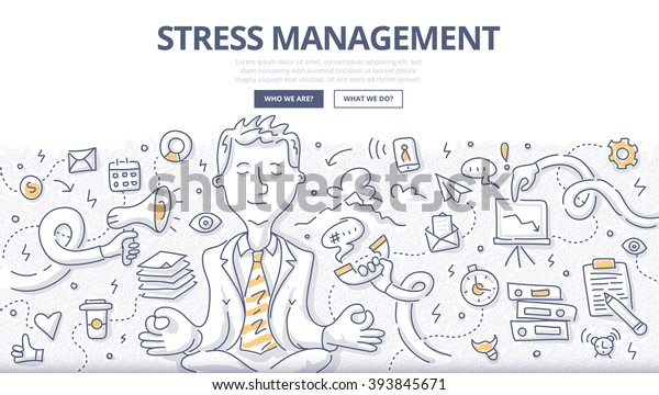 Doodle vector illustration of relaxed businessman meditating in busy office environment. Concept of fighting stress at work for web banners, hero images, printed materials