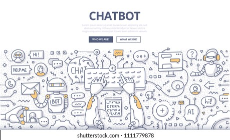 Doodle vector illustration of a robot communicating online, typing on keyboard. Chatting bot technology. Chatbot concept for web banners, hero images, printed materials