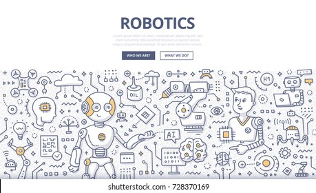 Doodle vector illustration of robotic and artificial intelligence. Concept of futuristic technology for web banners, hero images, printed materials